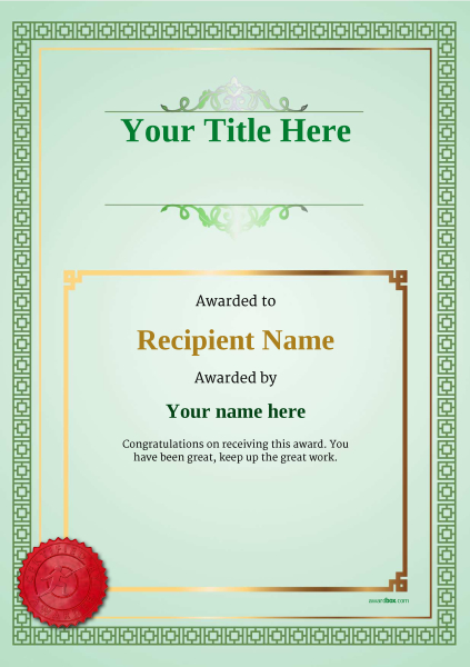 certificate-template-fencing-classic-5gfsr Image