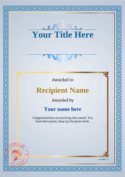 certificate-template-fitness-classic-5bfsr Image