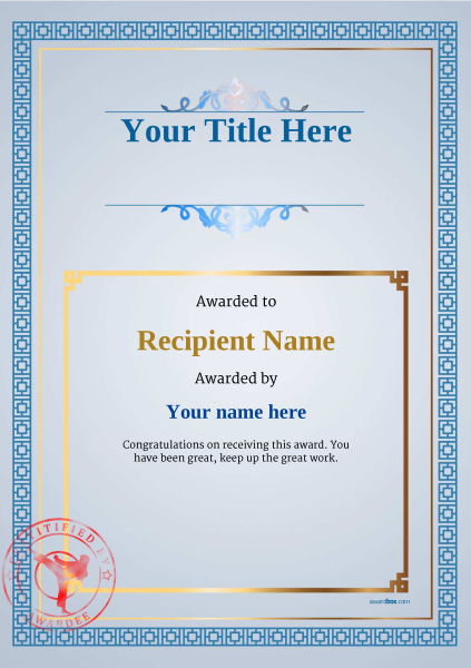 certificate-template-martial-arts-classic-5bmsr Image