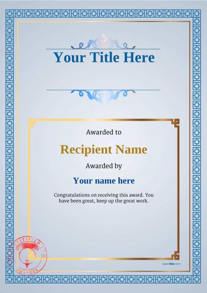 certificate-template-parachuting-classic-5bpsr Image