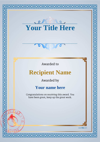 certificate-template-skiing-classic-5bssr Image
