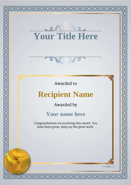 certificate-template-skiing-classic-5dsmg Image