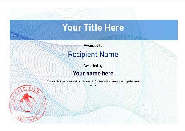 certificate-template-skiing-modern-3bssr Image