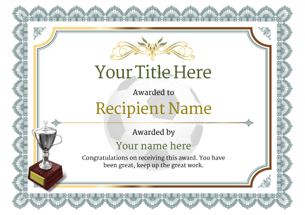 picture about Printable Soccer Certificates named Free of charge Football Certification templates - Increase Printable Badges