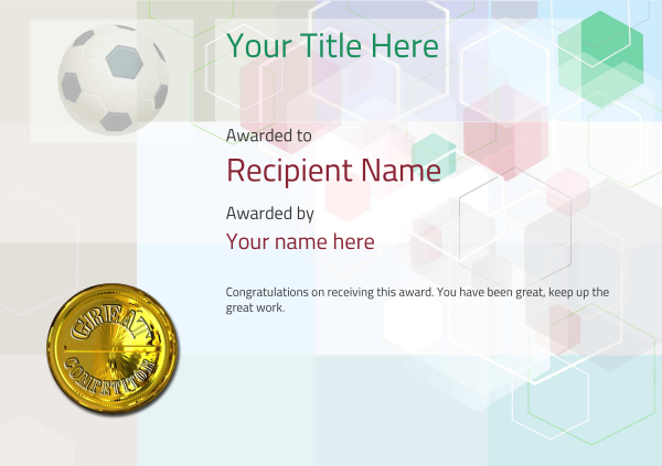 image relating to Printable Soccer Certificates titled football certificates template -