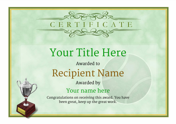 Free tennis certificate templates add printable badges medals certificate template tennis classic 1gt3s image yadclub Gallery