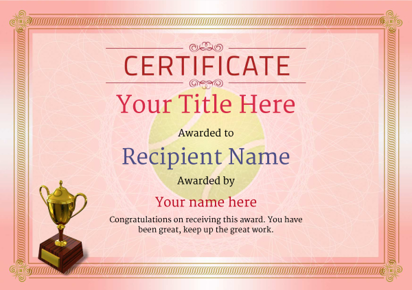 certificate-template-tennis-classic-4rt3g Image