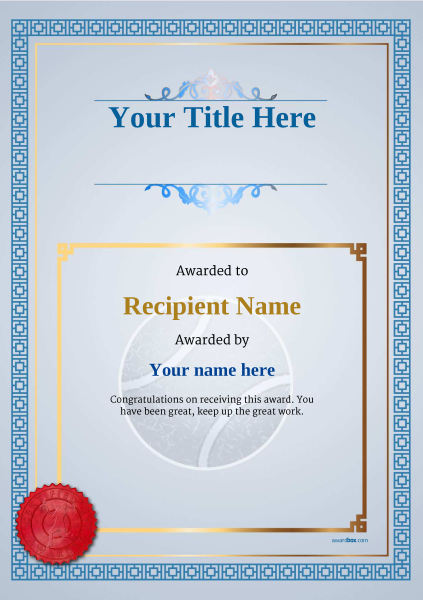 Free tennis certificate templates add printable badges medals certificate template tennis classic 5blsr image yadclub Gallery