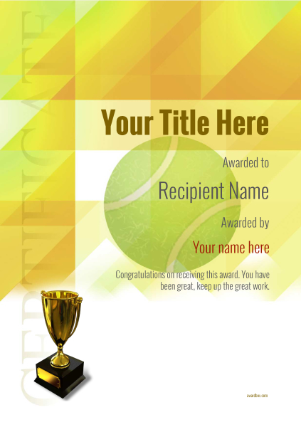 certificate-template-tennis-modern-2yt5g Image