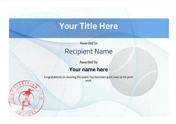 certificate-template-tennis-modern-3blsr Image