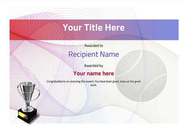 certificate-template-tennis-modern-3dt4s Image
