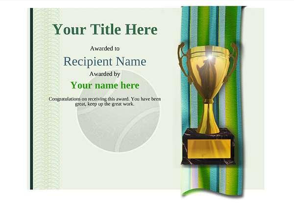 certificate-template-tennis-modern-4gt1g Image