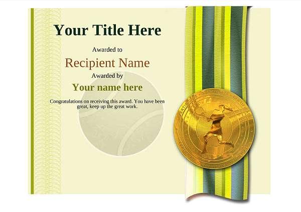 certificate-template-tennis-modern-4ylmg Image