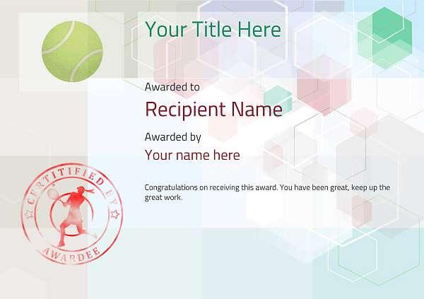 certificate-template-tennis-modern-5dlsr Image