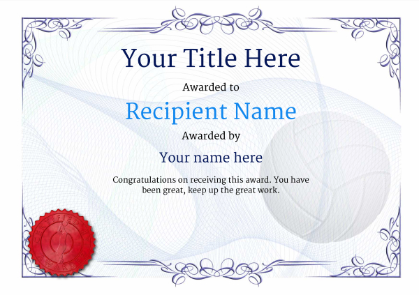 certificate-template-volley-ball-classic-2bvsr Image