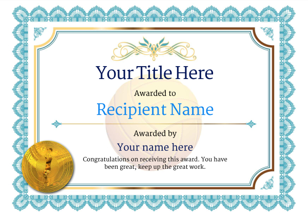 certificate-template-volley-ball-classic-3bvmg Image