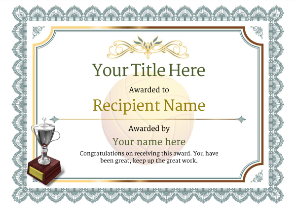 certificate-template-volley-ball-classic-3dt2s Image