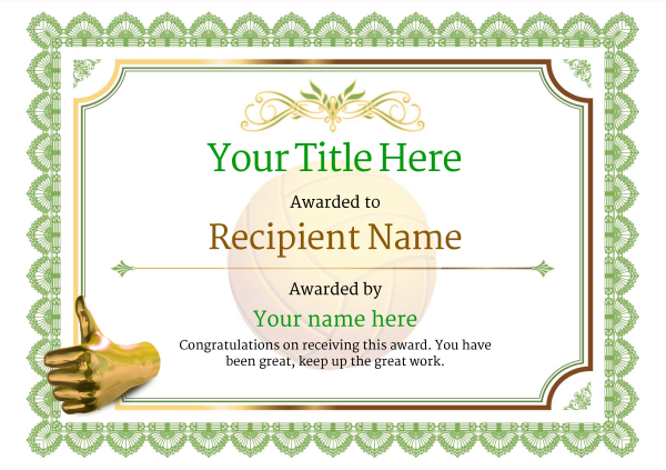 certificate-template-volley-ball-classic-3gtnn Image