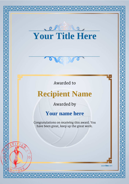 certificate-template-volley-ball-classic-5bvsr Image