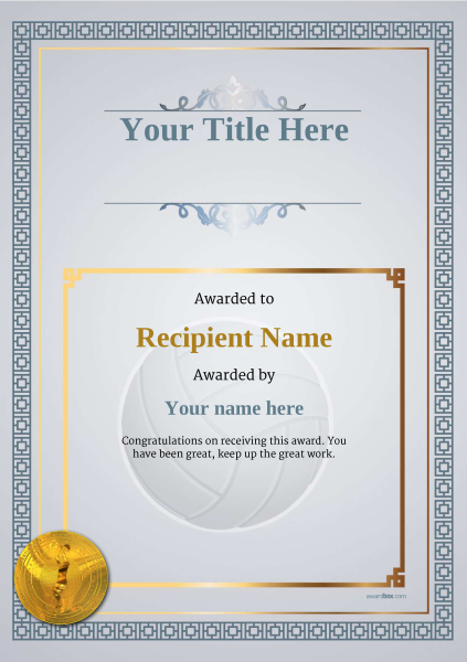 certificate-template-volley-ball-classic-5dvmg Image