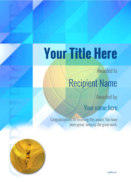 certificate-template-volley-ball-modern-2bvmg Image