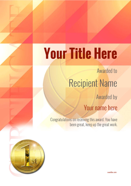 certificate-template-volley-ball-modern-2r1mg Image