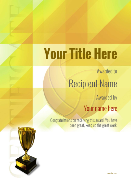 certificate-template-volley-ball-modern-2yt5g Image