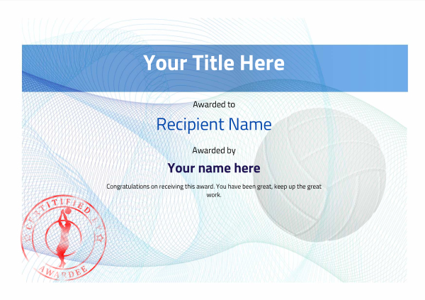 certificate-template-volley-ball-modern-3bvsr Image