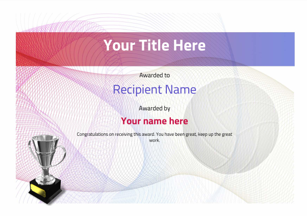 certificate-template-volley-ball-modern-3dt4s Image