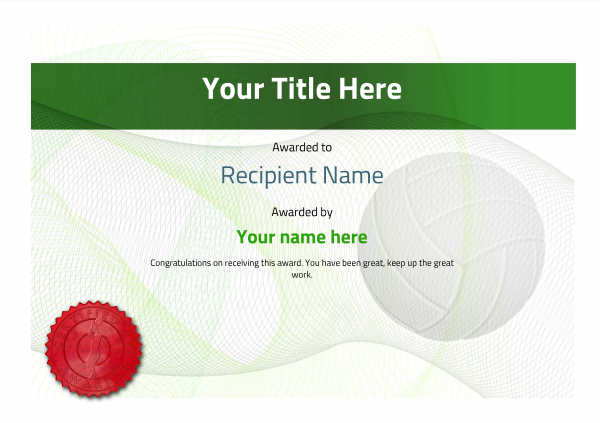 certificate-template-volley-ball-modern-3gvsr Image