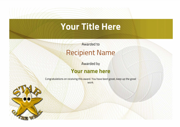 certificate-template-volley-ball-modern-3ysnn Image