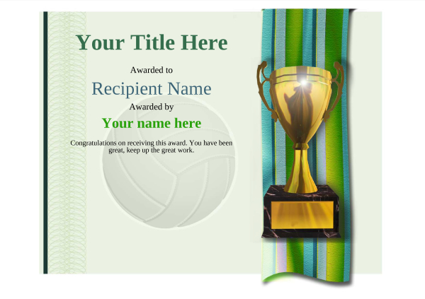 certificate-template-volley-ball-modern-4gt1g Image