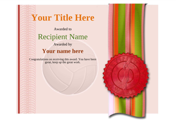 certificate-template-volley-ball-modern-4rvsr Image