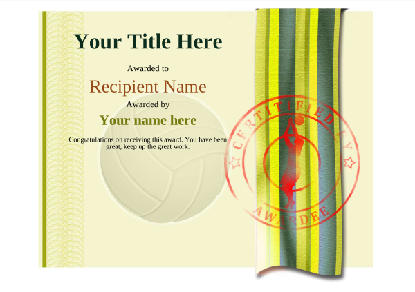 certificate-template-volley-ball-modern-4yvsr Image