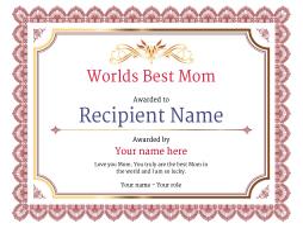 best mom award certificate Image