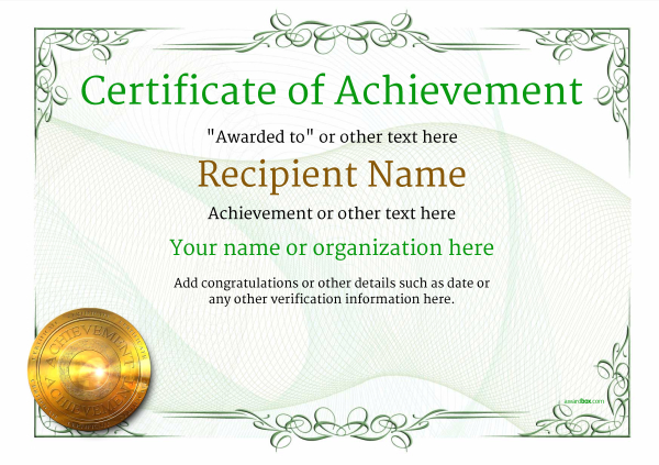certificate-of-achievement-template-award-classic-style-2-green-medal Image