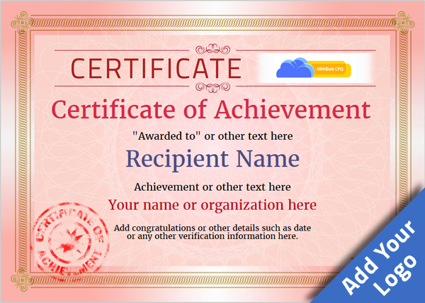 certificate-of-achievement-template-award-classic-style-4-red-stamp Image