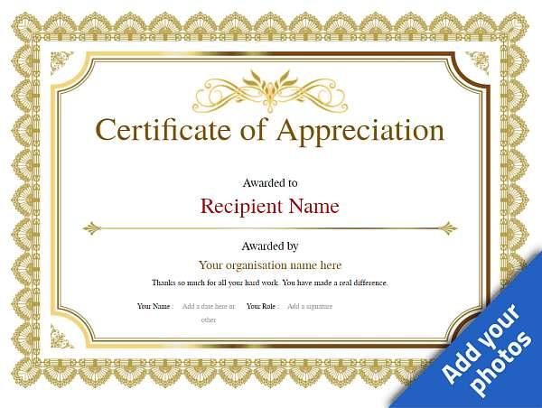 certificate of appreciation classic Image
