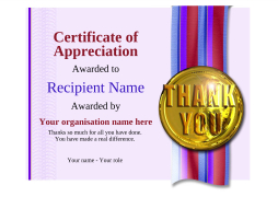 certificate of appreciation thank you Image