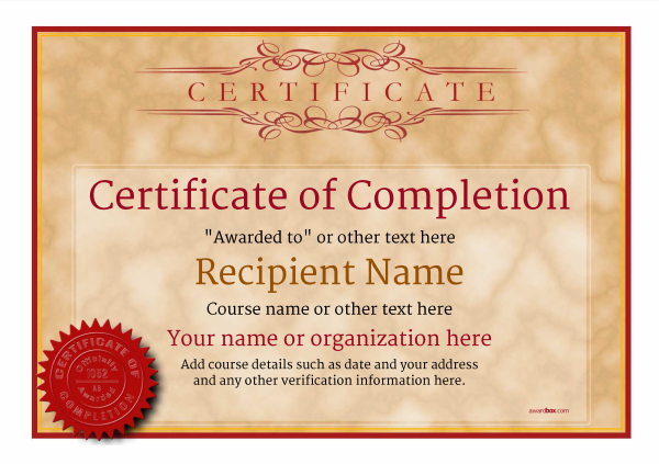 certificate-of-completion-template-award-classic-style-1-default-seal Image