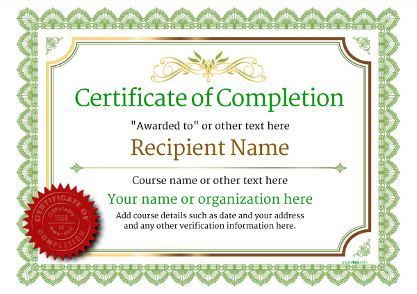 certificate-of-completion-template-award-classic-style-3-green-seal Image