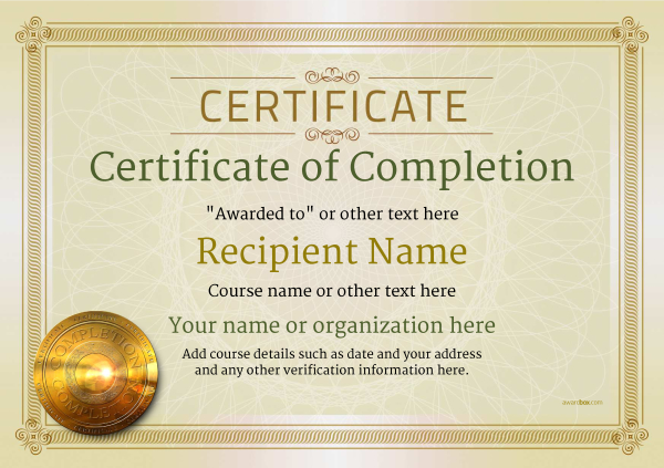 certificate-of-completion-template-award-classic-style-4-default-medal Image