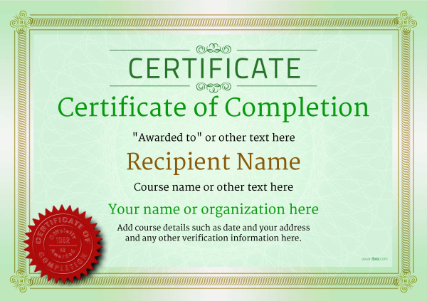 certificate-of-completion-template-award-classic-style-4-green-seal Image