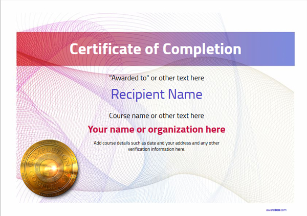 certificate-of-completion-template-award-modern-style-3-default-medal Image