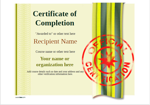 certificate-of-completion-template-award-modern-style-4-yellow-stamp Image