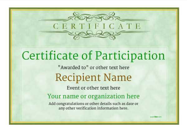 certificate-of-participation-template-award-classic-style-1-green-blank Image