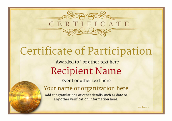 certificate-of-participation-template-award-classic-style-1-yellow--medal Image