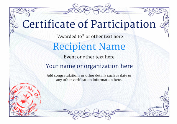 certificate-of-participation-template-award-classic-style-2-blue-stamp Image