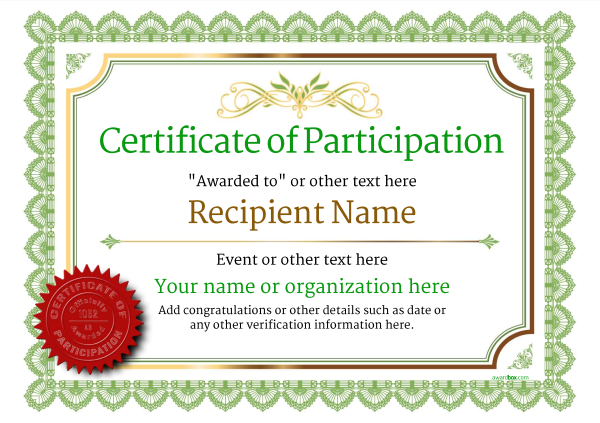 certificate-of-participation-template-award-classic-style-3-green-seal Image