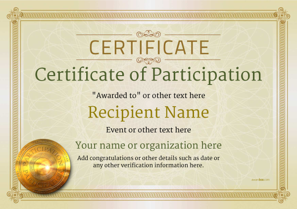 certificate-of-participation-template-award-classic-style-4-default-medal Image